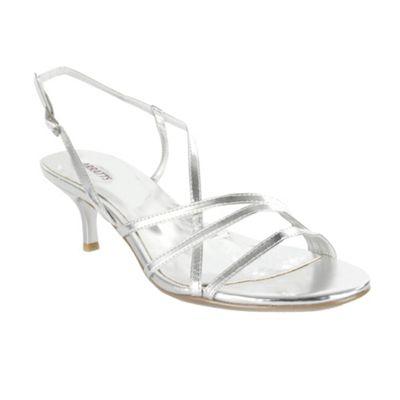 Barratts Silver Kitten Heel Strappy Sandal