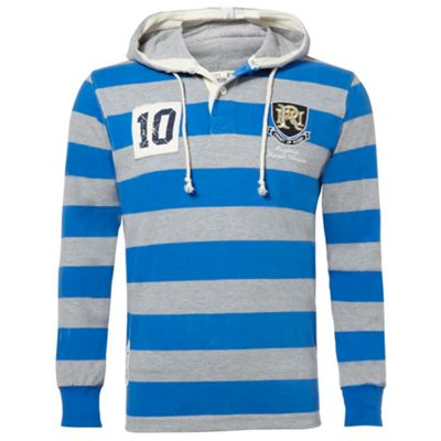 Grey & Royal Blue Stripe Carisbrook Hooded Rugby Top With Grey Soft Hood