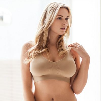 Pack of two natural non wired padded Belvia bras