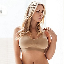 Belvia - Pack of two natural non wired padded Belvia bras