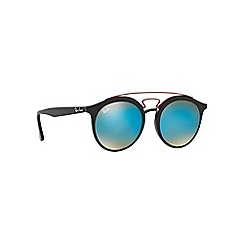 Ray-Ban - Matte black phantos frame blue lense sunglasses