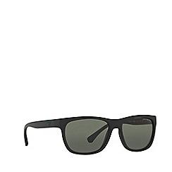Emporio Armani - Matte black square frame green sunglasses
