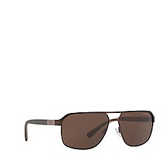 Emporio Armani - Matte brown EA2039 rectangle sunglasses