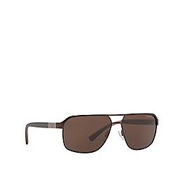 Emporio Armani - Matte brown EA2039 rectangle sunglasses