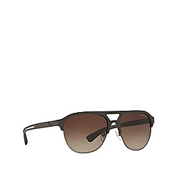 Emporio Armani - Brown rubber EA4077 square sunglasses