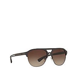 Emporio Armani - Brown rubber square frame sunglasses