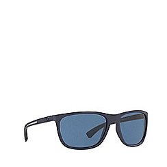 Emporio Armani - Blue rubber rectangle frame sunglasses