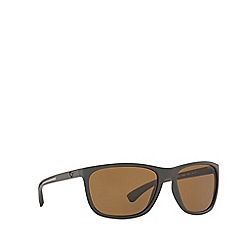 Emporio Armani - Brown rubber EA4078 rectangle sunglasses