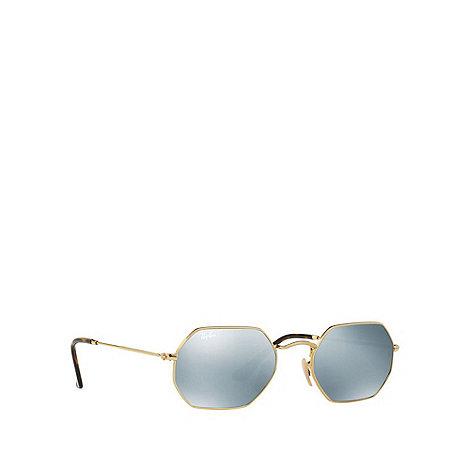 ray bans sunglasses debenhams  ray ban gold rb3556n octagonal flat lenses sunglasses