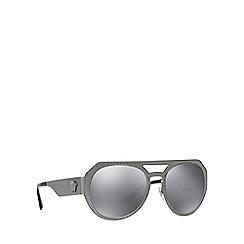 Versace - Gunmetal round mirror lense sunglasses