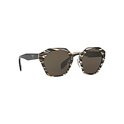 Prada - Grey irregular frame green lense sunglasses