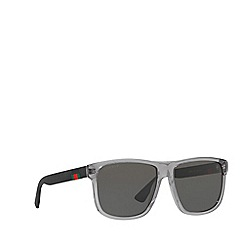 Gucci - Grey GG0010S rectangle sunglasses