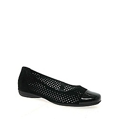 Gabor - Black 'Craster' leather wide fit ballet pumps