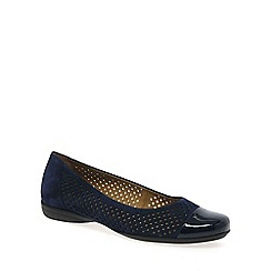 Gabor - Navy 'Craster' leather wide fit ballet pumps