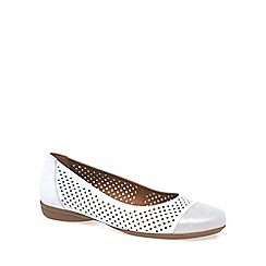 Gabor - White 'Craster' Leather Wide Fit Ballet Pumps