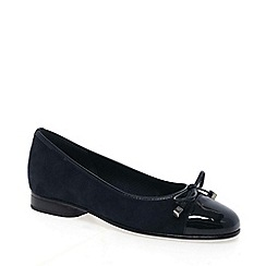 Gabor - Navy 'Bunty' leather ballet pumps