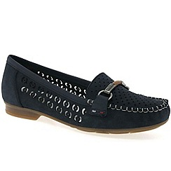 Rieker - Navy 'bar' leather slip on moccasins