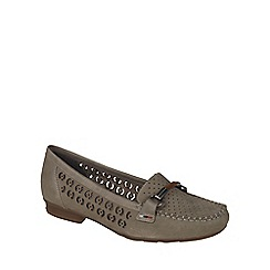 Rieker - Beige 'Bar' Womens Leather Slip On Moccasins