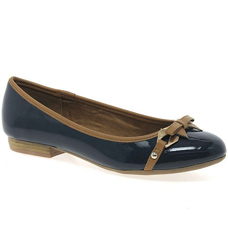 Marco Tozzi - Navy +Dignity+ womens patent ballet pumps