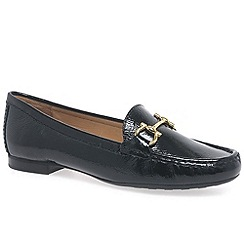 Maria Lya - Black patent 'sunflower' womens moccasin shoes