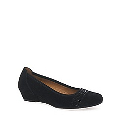Gabor - Black 'Aylesford' womens suede wedge ballet pumps