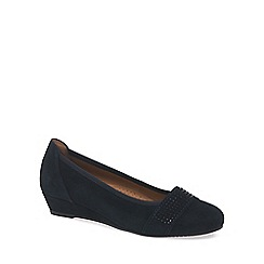Gabor - Navy 'Aylesford' womens suede wedge ballet pumps