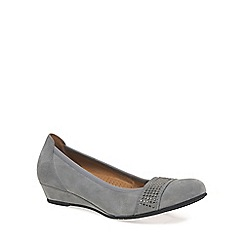 Gabor - Grey 'Aylesford' Womens Suede Wedge Ballet Pumps