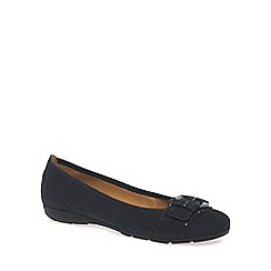 Gabor - Navy 'Millie' womens nubuck ballet pumps