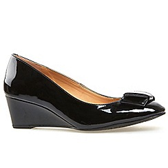 Van Dal - Black patent 'Camden' wedge heel court shoes