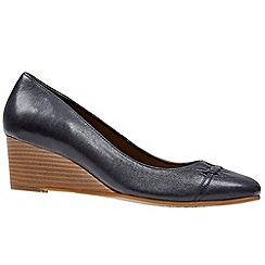 Van Dal - Dark blue leather 'Derry' wedge heeled shoes