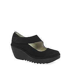 Fly London - Black 'Yasi' womens casual wedge heel shoes