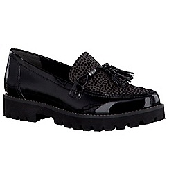 Marco Tozzi - Black patent 'Gimlet' womens tassel slip on shoes