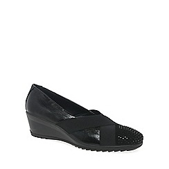 Van Dal - Black patent 'Charity' womens casual wedge heel shoes