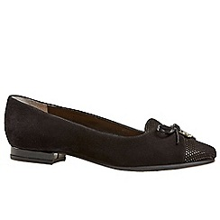 Van Dal - Black 'Seneca' womens wide fit suede ballet pumps