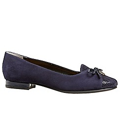 Van Dal - Dark blue 'Seneca' womens wide fit suede ballet pumps