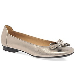 Gabor - Gold 'natalia' womens leather ballet pumps