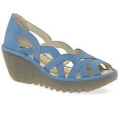Fly London - Blue 'Yadi' womens wedge heel sandals