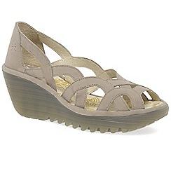Fly London - Beige 'Yadi' womens wedge heel sandals