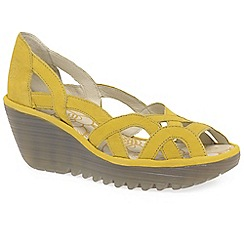 Fly London - Yellow 'Yadi' womens wedge heel sandals
