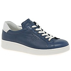 Ecco - Navy leather 'Soft 4' casual trainers