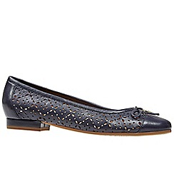Van Dal - Navy leather 'Wentworth' flat wide fit ballet pumps