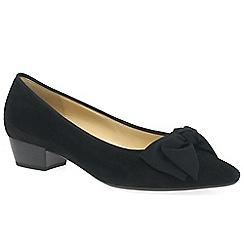 Gabor - Black suede 'Tarbert' low heeled Court shoes