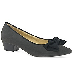 Gabor - Grey suede 'Tarbert' low heeled Court shoes