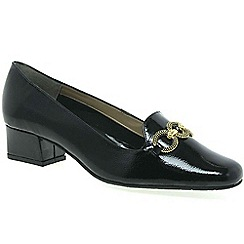 Van Dal - Black patent 'twilight' womens wide fit court shoes