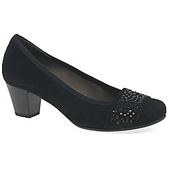 Gabor - Black 'Wallace' Suede Mid Heel Court Shoes