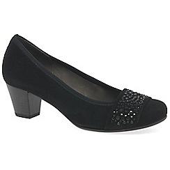 Gabor - Dark blue 'Wallace' suede mid heel court shoes