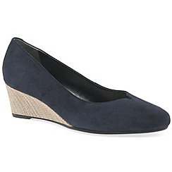 Van Dal - Dark blue leather 'Hanover' wide fitting wedges