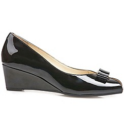 Van Dal - Black patent 'Bay' womens wedge heel court shoes