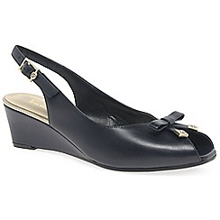 Van Dal - Dark blue leather 'Meade' peep toe slingback shoes