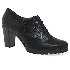 Gabor - Black 'Rendezvous' womens croc leather lace up shoes